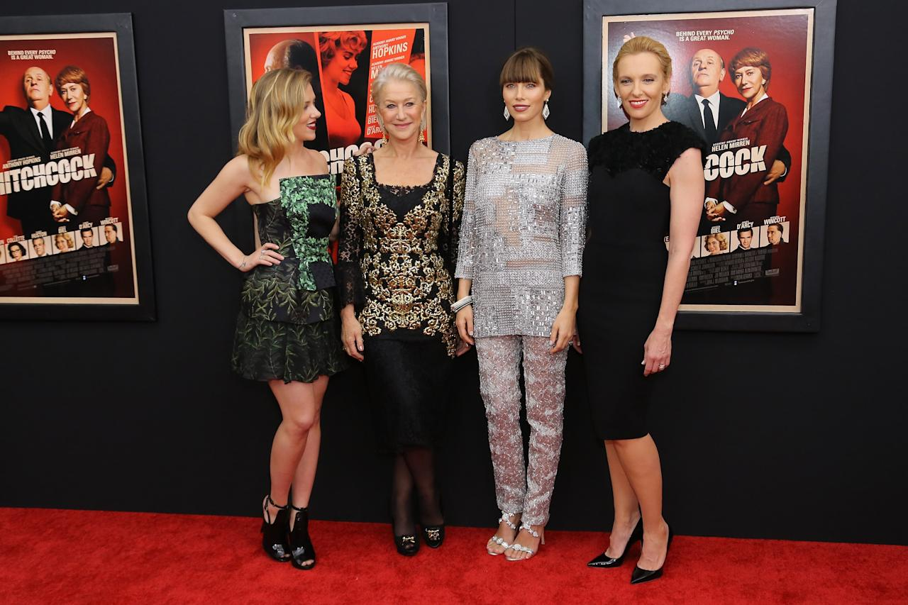 """NEW YORK, NY - NOVEMBER 18:  (L-R) Actresses Scarlett Johansson, Dame Helen Mirren, Jessica Biel and Toni Collette attend the """"Hitchcock"""" New York Premiere at Ziegfeld Theater on November 18, 2012 in New York City.  (Photo by Neilson Barnard/Getty Images)"""
