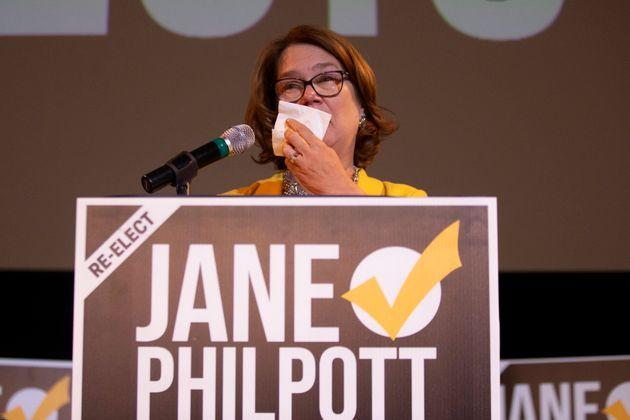 Independent candidate Jane Philpott reacts as she speaks to supporters after losing her Markham-Stouffville, Ont. seat to Liberal candidate Helena Jaczek, Oct. 21, 2019.