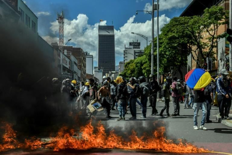 Demonstrators attacked police installations in the Colombian city of Medellin