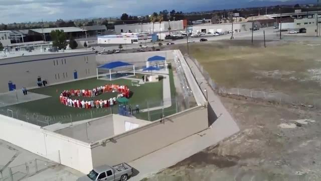 Hunger strikers at Mesa Verde ICE Processing Center in Bakersfield captured by drone during a sit-in protest on April 10.