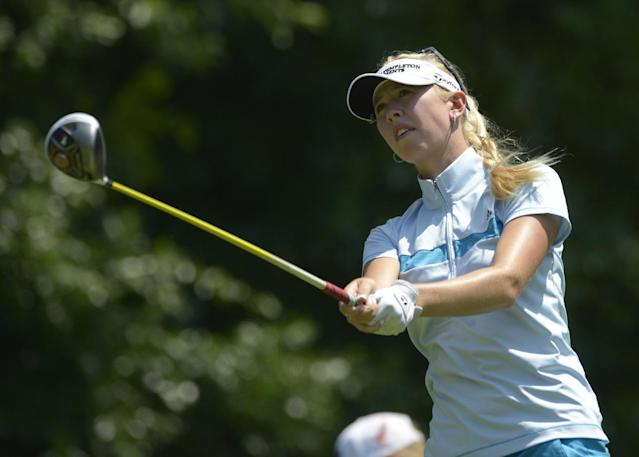 Jessica Korda watches the flight of her tee shot on the fifth hole during the second round of the Airbus LPGA Classic golf tournament at Magnolia Grove on Friday, May 23, 2014, in Mobile, Ala. (AP Photo/G.M. Andrews)