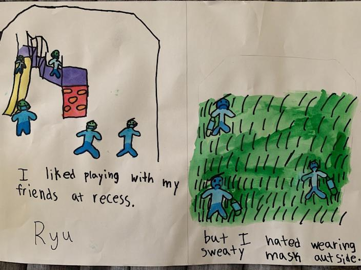 """""""I liked playing with my friends at recess. But I hated wearing sweaty mask outside."""" —Ryu"""