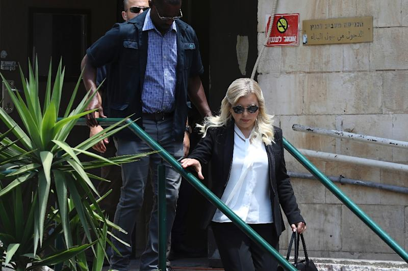 Sara Netanyahu, wife of Israeli Prime Minister Benjamin Netanyahu, leaves the Magistrate's Court in Jerusalem on June 16, 2019, following her conviction of fraudulently using state funds for meals