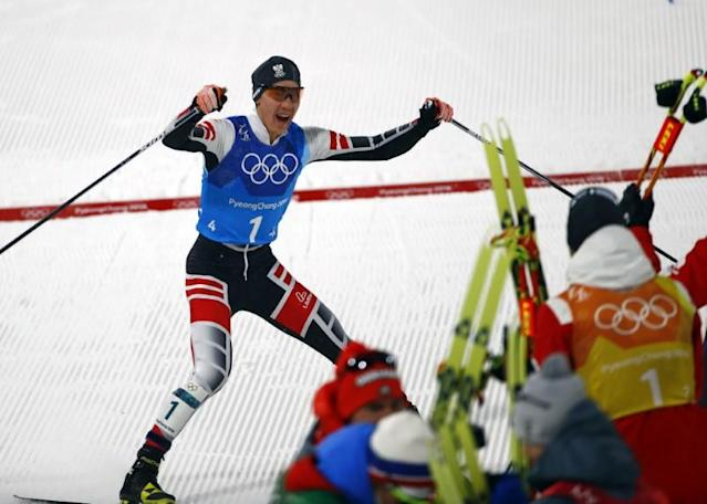 Nordic Combined Events - Pyeongchang 2018 Winter Olympics - Men's Team 4 x 5 km Final - Alpensia Cross-Country Skiing Centre - Pyeongchang, South Korea - February 22, 2018 - Mario Seidl of Austria celebrates with his teammates. REUTERS/Dominic Ebenbichler