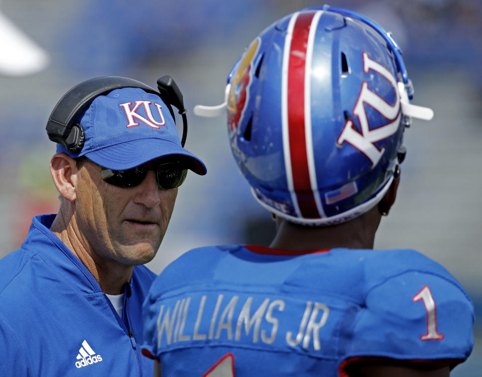 Kansas fired head coach David Beaty on Sunday. The Jayhawks are 3-6 this college football season. (AP)