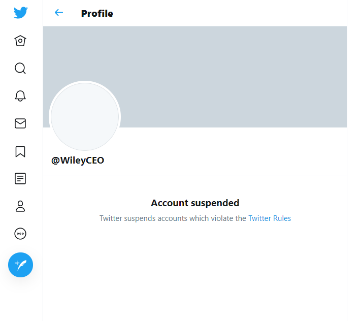 Wiley's account has been suspended for violating Twitter's rules (Twitter/PA)