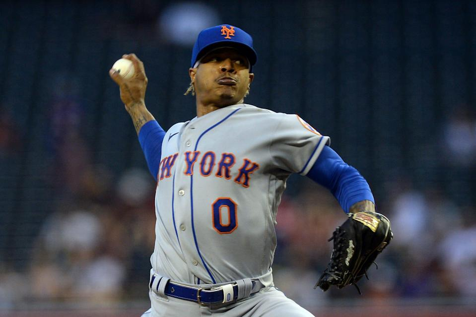 New York Mets starting pitcher Marcus Stroman pitches against the Arizona Diamondbacks during the third inning at Chase Field.