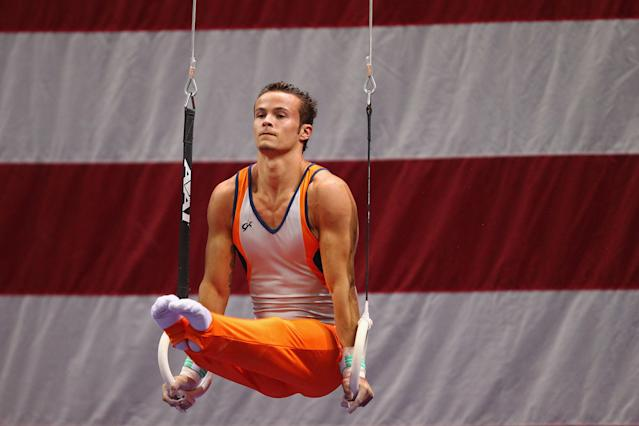 ST. LOUIS, MO - JUNE 7: Paul Ruggeri competes on the rings during the Senior Men's competition on day one of the Visa Championships at Chaifetz Arena on June 7, 2012 in St. Louis, Missouri. (Photo by Dilip Vishwanat/Getty Images)
