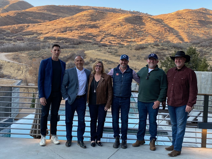Lincoln Project co-founders (left to right) Ron Steslow, Mike Madrid, Jennifer Horn, Reed Galen, Rick Wilson, and Steve Schmidt on Election Day, Nov. 3, 2020, in Park City, Utah.