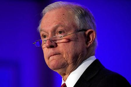 FILE PHOTO:    U.S. Attorney General Jeff Sessions delivers remarks on law enforcement efforts to combat the opioid crisis and violent crime in an address before the National Sheriffs Association Winter Conference in Washington
