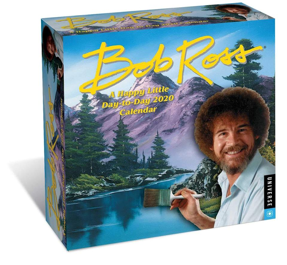"""2019 was a stressful time. For 2020, give the gift of a daily dose of tranquility with the official Bob Ross day-to-day calendar, which features 365 days of landscape paintings and <em>bon mots</em> from America's most iconic purveyor of painting.<br><br><strong>Bob Ross</strong> Bob Ross: A Happy Little Day-to-Day 2020 Calendar, $, available at <a href=""""https://amzn.to/36rAj25"""" rel=""""nofollow noopener"""" target=""""_blank"""" data-ylk=""""slk:Amazon"""" class=""""link rapid-noclick-resp"""">Amazon</a>"""