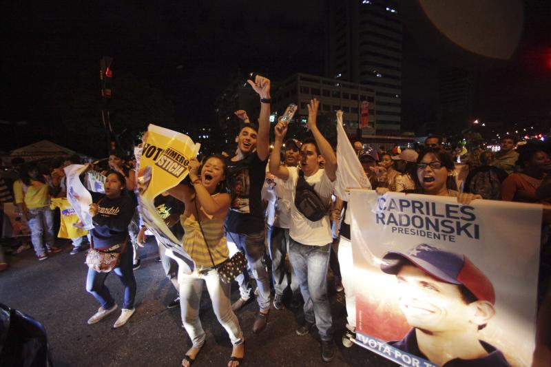 Supporters of former opposition presidential candidate Henrique Capriles wave signs with images of him during a protest accusing Venezuela's re-elect President Hugo Chavez of electoral fraud in Caracas, Venezuela, Monday, Oct. 8, 2012. (AP Photo/Fernando Llano)