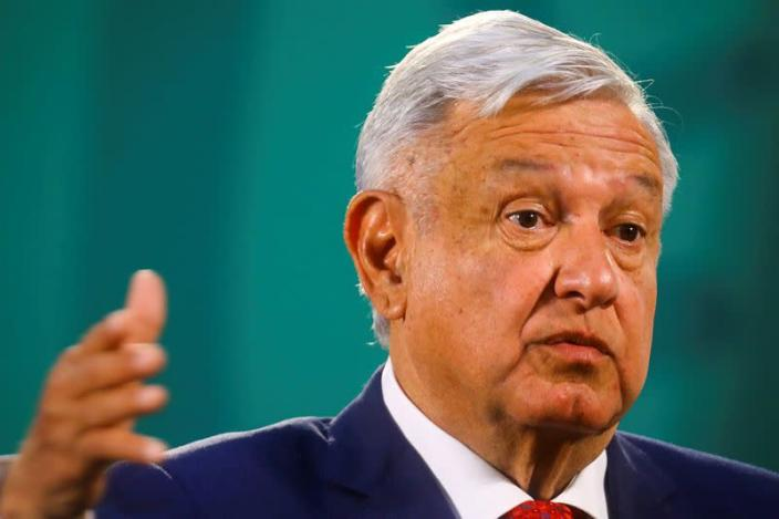 FILE PHOTO: Mexico's President Andres Manuel Lopez Obrador gestures as he speaks during a news conference at the National Palace, Mexico City