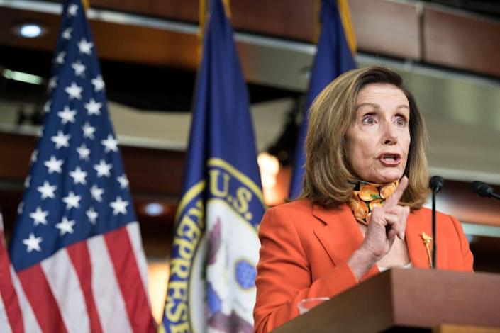 Speaker of the House Nancy Pelosi (D-CA) holds a weekly press conference at the Capitol on September 24, 2020 in Washington, DC. (Photo by Liz Lynch/Getty Images)