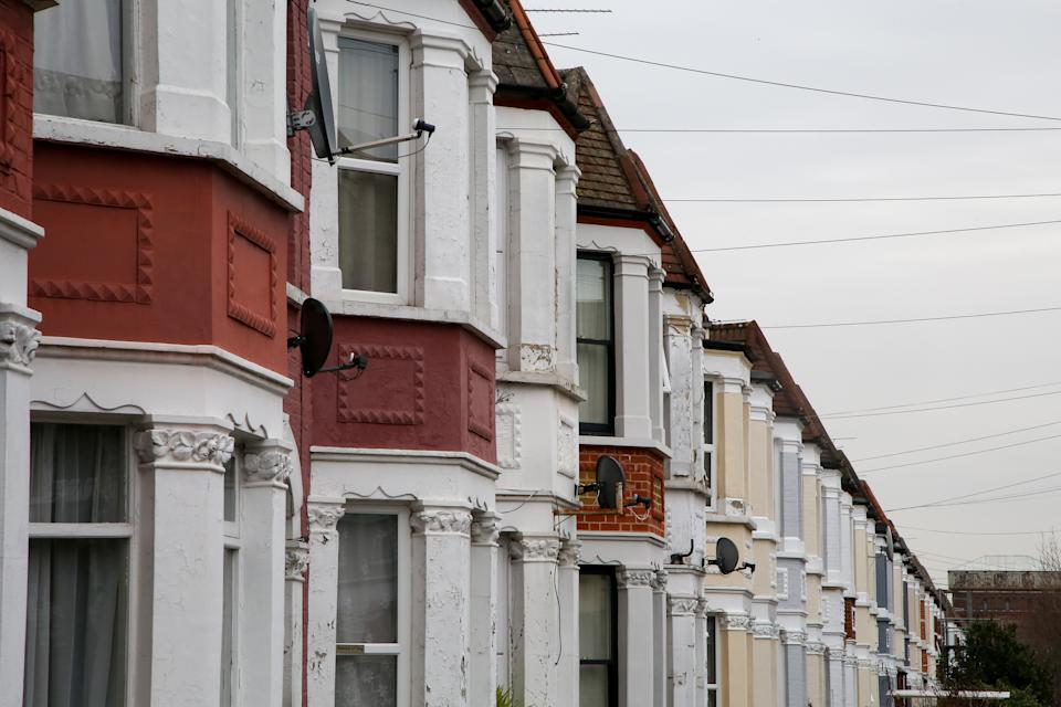 LONDON, UNITED KINGDOM - 2021/02/22: Terraced houses in London as pressure grows on the Chancellor of exchequer, Rishi Sunak for the stamp duty holiday to be extended in the UK Budget, which will take place on on 3 March 2021. The stamp duty holiday, which was introduced on 8 July 2020, is due to come to an end on 31 March 2021. (Photo by Dinendra Haria/SOPA Images/LightRocket via Getty Images)