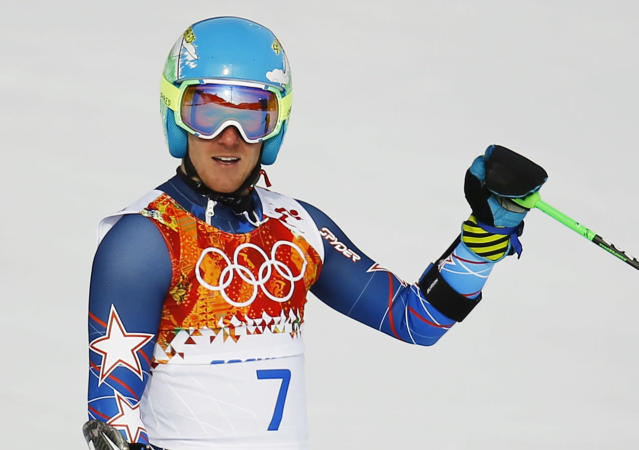 Ted Ligety of the U.S. reacts after the first run of the men's alpine skiing giant slalom event in the Sochi 2014 Winter Olympics at the Rosa Khutor Alpine Center February 19, 2014. REUTERS/Kai Pfaffenbach (RUSSIA - Tags: OLYMPICS SPORT SKIING)