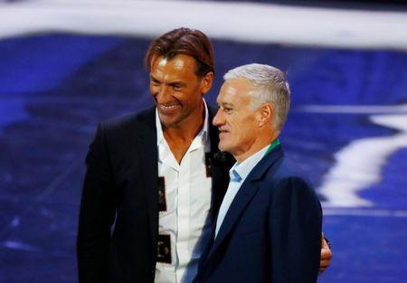 Soccer Football - 2018 FIFA World Cup Draw - State Kremlin Palace, Moscow, Russia - December 1, 2017 France coach Didier Deschamps and Morocco coach Herve Renard after the draw REUTERS/Kai Pfaffenbach