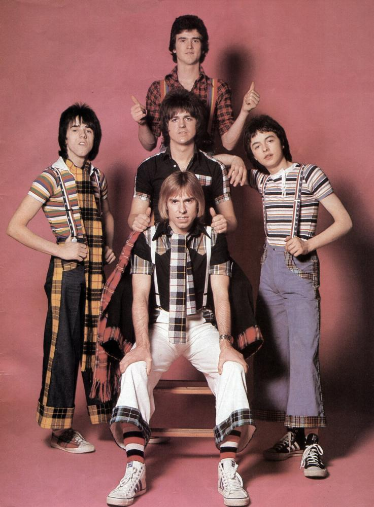 Les McKeown, top, with the Bay City Rollers in the 1970s.