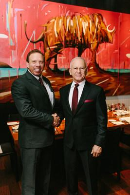 Terry Tutt, UPS Managing Director of Enterprise Accounts, and Ron Hicks, HerdX Founder and CEO, in Tokyo, Japan on Friday evening celebrating the international logistics partnership and blockchain verified beef shipment.