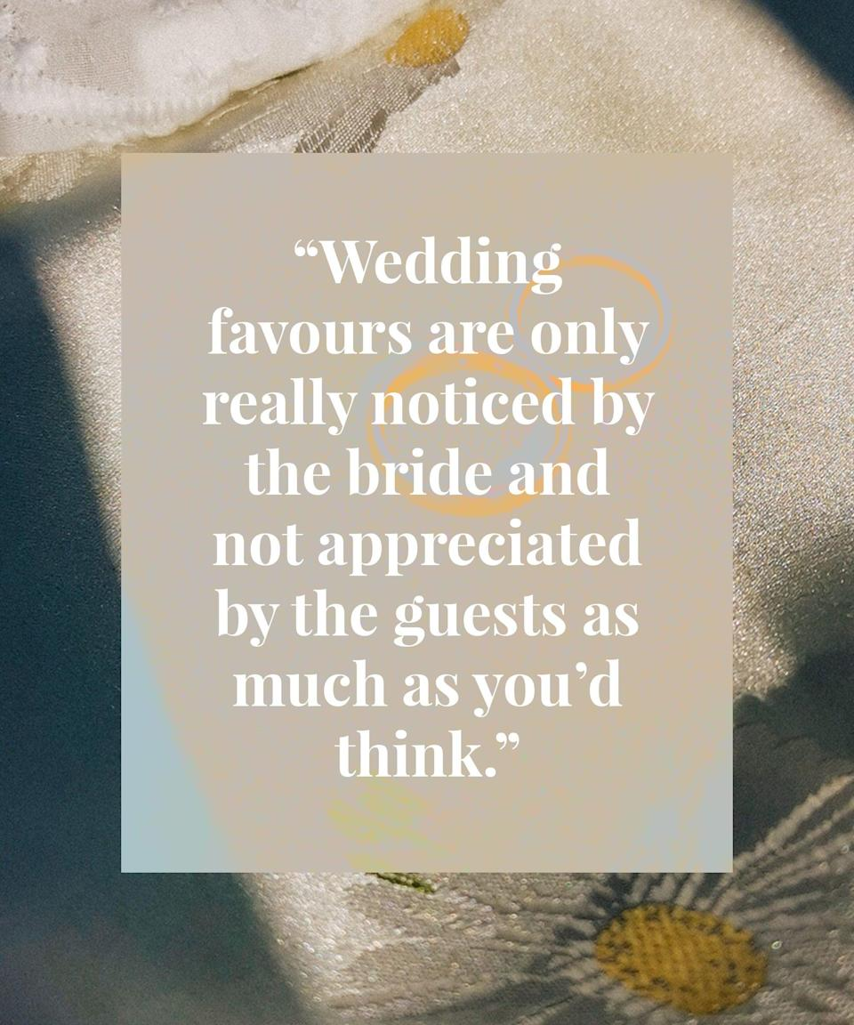<h2>Elaine got married in July 2017</h2><br>Our venue was a village hall with a beautiful open space where we had a lovely mobile bar. On reflection, on a boiling hot day the DJ played to an empty hall – I would've had a live band outside so that everyone could've made the most of the music.<br><br>My advice is to really think about the basics like food and drink. The additional extras i.e. wedding favours are only really noticed by the bride and not appreciated by the guests as much as you'd think.
