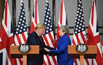 Prime Minister Theresa May and US President Donald Trump during their joint press conference at the Foreign & Commonwealth Office, in London, on the second day of his state visit to the UK.