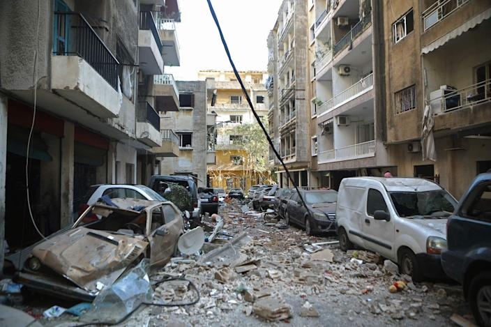 A view of the damaged Beirut neighborhood of Mar Mikhael on Wednesday in the aftermath of the explosion.