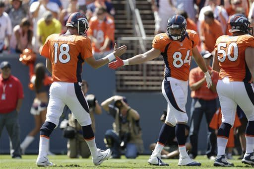 Denver Broncos quarterback Peyton Manning (18) celebrates with tight end Jacob Tamme (84) after throwing a touchdown pass to wide receiver Eric Decker against the San Francisco 49ers during the first quarter of an NFL preseason football game in Denver, Sunday, Aug. 26, 2012. (AP Photo/Joe Mahoney)