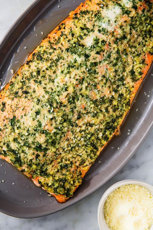 "<p><a href=""http://www.delish.com/uk/salmon-recipes/"" target=""_blank"">Salmon</a> is already packed with healthy fats, but we made it even more keto-friendly with butter and Parmesan. Yep, you read that correctly. Fat is good when you're trying to reach ketosis. What's not allowed: carbs. Luckily, this is completely satisfying on its own.</p><p>Get the <a href=""https://www.delish.com/uk/cooking/recipes/a30760972/keto-salmon-recipe/"" target=""_blank"">Keto Garlic Butter Salmon</a> recipe.</p>"