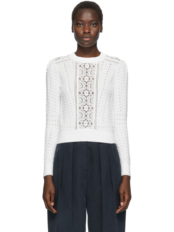See by Chloé White Lace Fitted Sweater. Image via Ssense.