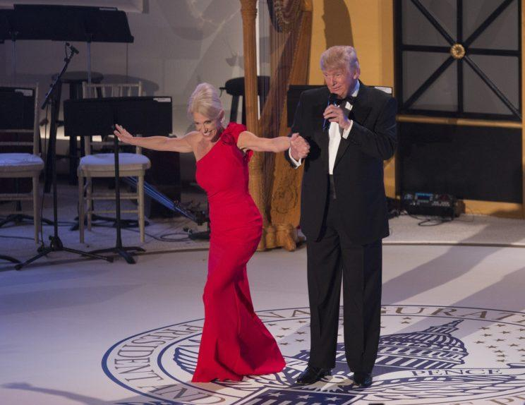 Donald Trump and Kellyanne Conway dance at an Inaugural Ball. (Photo: Getty Images)