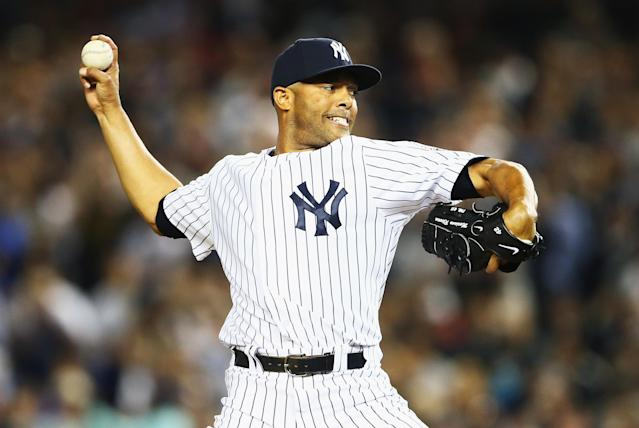 NEW YORK, NY - SEPTEMBER 26: Mariano Rivera #42 of the New York Yankees pitches against the Tampa Bay Rays in the eigth inning during their game on September 26, 2013 at Yankee Stadium in the Bronx borough of New York City. (Photo by Al Bello/Getty Images)