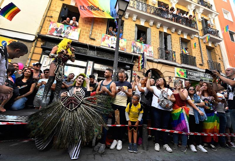 Madrid is decked out in rainbow colours for WorldPride march which some organisers warn is becoming too commercial, preferring to stress its political dimension (AFP Photo/GERARD JULIEN)