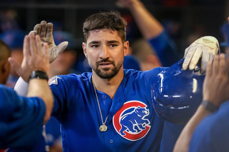 MILWAUKEE, WISCONSIN - SEPTEMBER 05: Nicholas Castellanos #6 of the Chicago Cubs celebrates with teammates after scoring a run in the fifth inning against the Milwaukee Brewers at Miller Park on September 05, 2019 in Milwaukee, Wisconsin. (Photo by Dylan Buell/Getty Images)