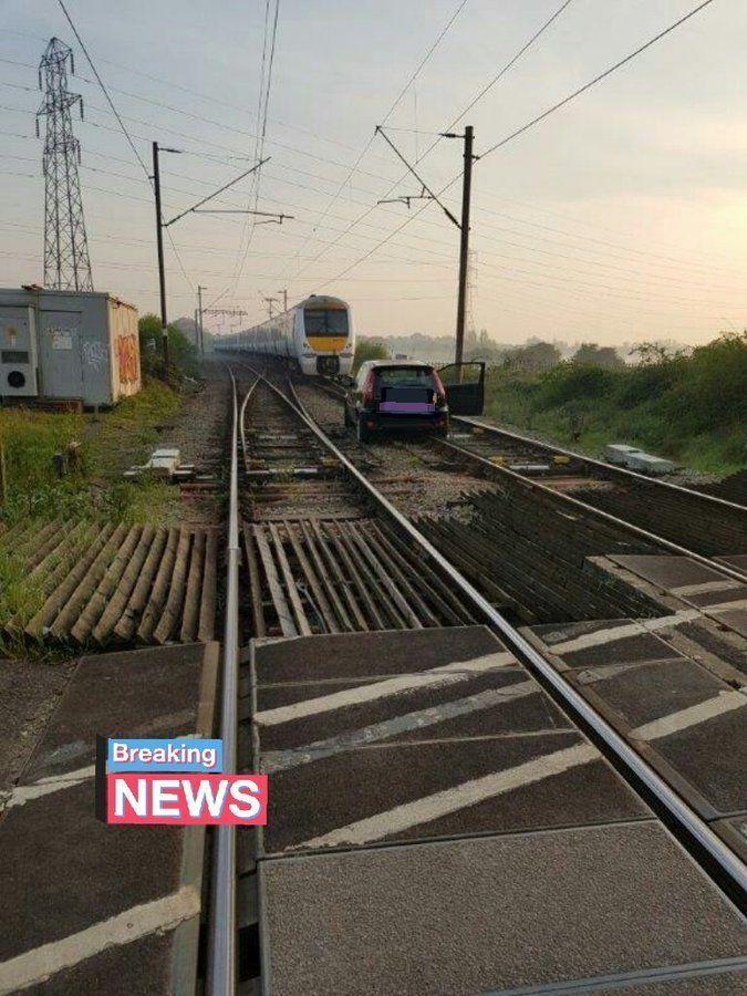 Essex Police said a man has been arrested after he parked his car on a railway line when drunk before reporting it as stolen the following morning. (Essex Police)