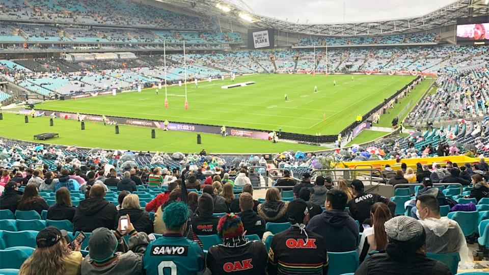 A fan view of the NRL grand final between the Storm and Panthers at ANZ Stadium in Sydney.