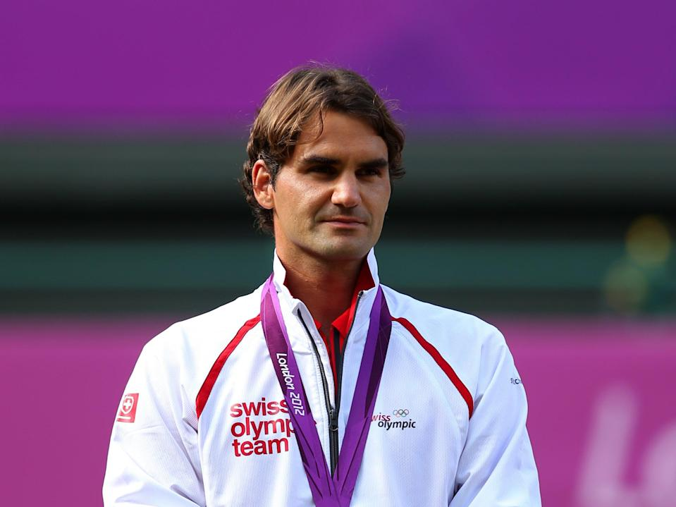 Roger Federer after winning silver in the men's singles at London 2012 (Getty Images)