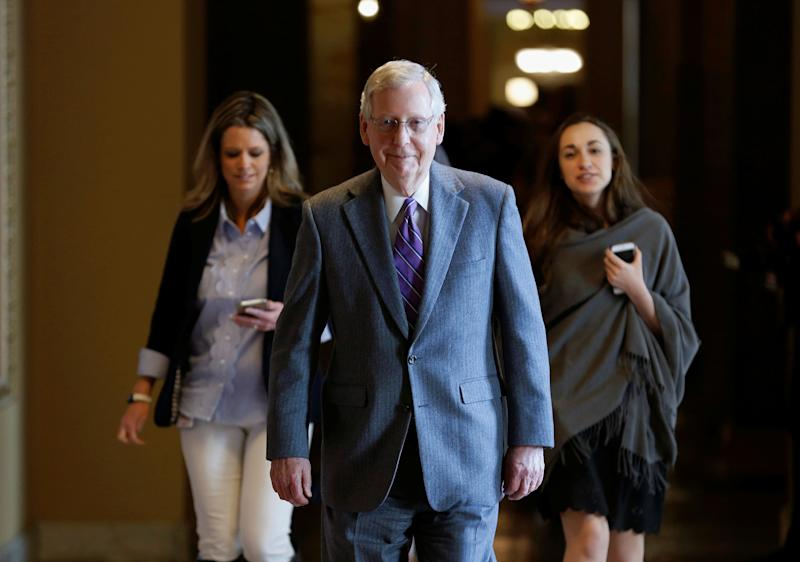 Senate Majority Leader Mitch McConnell (R-KY) walks to the Senate floor before a series of votes on immigration reform on Capitol Hill in Washington, U.S., February 15, 2018. (Photos: Joshua Roberts/Reuters)