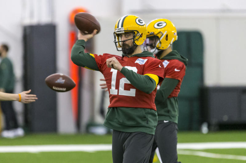 Green Bay Packers quarterback Aaron Rodgers throws the ball during the Packers NFL football practice Friday Jan. 17, 2020, in Green Bay, Wis. The Packers will play the San Francisco 49ers in the NFC Championship game on Sunday. (AP Photo/Mike Roemer)