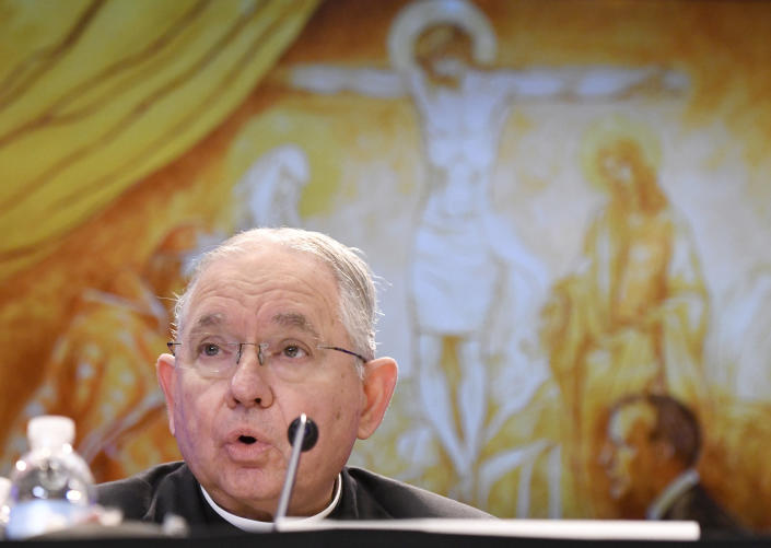"""FILE - In this Tuesday, Nov. 12, 2019, file photo, Archbishop Jose H. Gomez, of Los Angeles, speaks during a news conference after being elected as president of the United States Conference of Catholic Bishops during their Fall General Assembly in Baltimore. On Tuesday, Nov. 17, 2020, Gomez addressed an online national meeting of bishops. During the previous week, Gomez congratulated Joe Biden on his presidential election victory. Now, Gomez is sounding a different tone, saying some of Biden's policy positions, including support for abortion rights, pose a """"difficult and complex situation"""" for the church. (AP Photo/Steve Ruark, File)"""