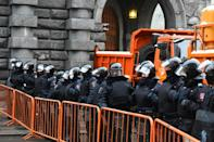 In second city Saint Petersburg police closed off the main thoroughfare Nevsky Prospekt and parked police cars parked all across the centre