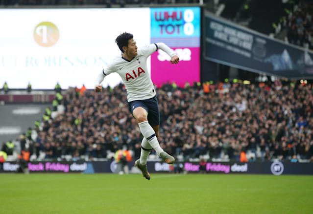 Son fired Spurs in front at West Ham in the opening half. (Photo by Tottenham Hotspur FC/Tottenham Hotspur FC via Getty Images)