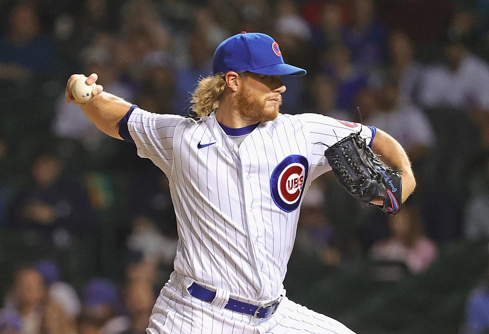 CHICAGO, ILLINOIS - JULY 07: Craig Kimbrel #46 of the Chicago Cubs pitches the 9th inning against the Philadelphia Phillies at Wrigley Field on July 07, 2021 in Chicago, Illinois. The Cubs defeated the Phillies 8-3. (Photo by Jonathan Daniel/Getty Images)