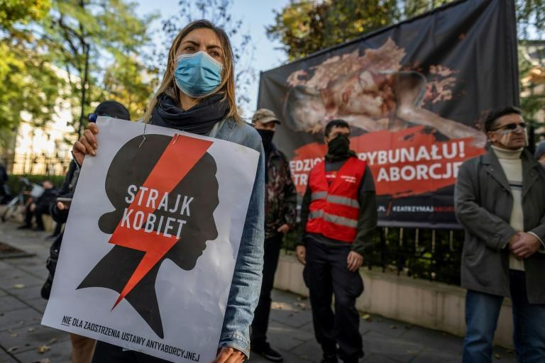 Protesters outside Poland's constitutional court on Thursday, after a ruling that could pave the way for a ban on abortions of malformed foetuses