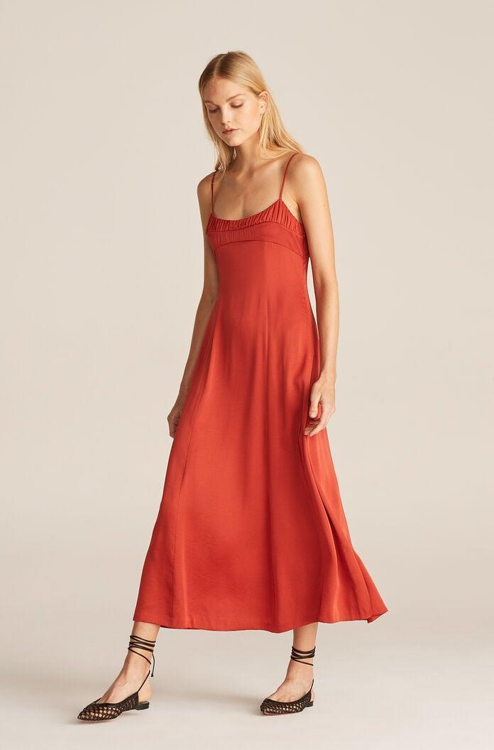 <p>This <span>Rebecca Taylor Ruched Top Long Dress</span> ($265) is the perfect piece for weddings, graduation parties, and summer nights out. Change up the look of this dress with chunky slides or delicate lace-up heels.</p>