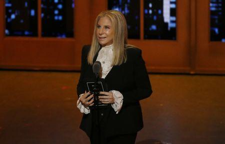 Barbra Streisand speaks on stage during the American Theatre Wing's 70th annual Tony Awards in New York