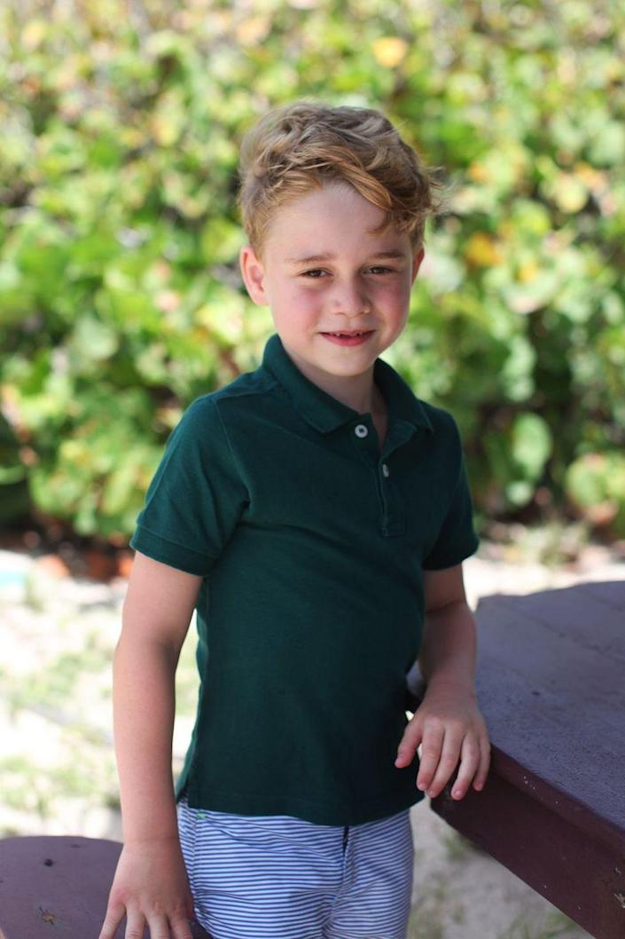 <p>Prince George appears in this smiley new portrait taken by the Duchess of Cambridge to mark his sixth birthday. </p>