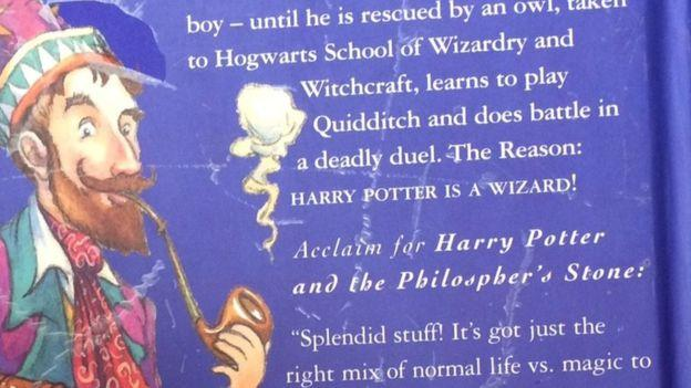 """The back page has a typo: """"Acclaim for Harry Potter and the 'Philospher's' Stone."""" (Source: Hansons Auctioneers)"""