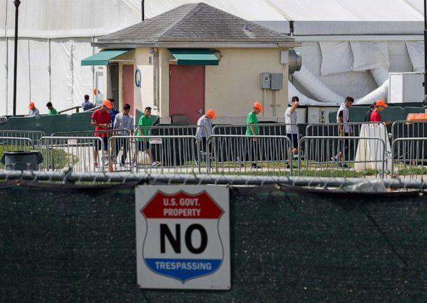 PHOTO: Young people walk the grounds of the Homestead Temporary Shelter for Unaccompanied Children in Homestead, Fla., July 15, 2020. (Joe Raedle/Getty Images, FILE)