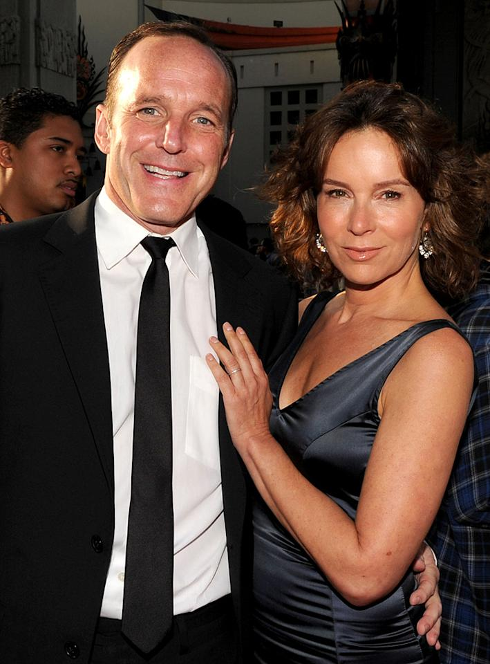 "<a href=""http://movies.yahoo.com/movie/contributor/1800019480"">Clark Gregg</a> and <a href=""http://movies.yahoo.com/movie/contributor/1800021291"">Jennifer Grey</a> at the Los Angeles premiere of <a href=""http://movies.yahoo.com/movie/1810026429/info"">Iron Man 2</a> - 04/26/2010"