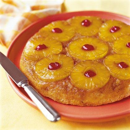 """<p>This old-fashioned upside-down <a href=""""https://www.myrecipes.com/cake-recipes/"""" rel=""""nofollow noopener"""" target=""""_blank"""" data-ylk=""""slk:cake"""" class=""""link rapid-noclick-resp"""">cake</a> recipe features <a href=""""https://www.myrecipes.com/ingredients/fruit-recipes/best-pineapple-recipes"""" rel=""""nofollow noopener"""" target=""""_blank"""" data-ylk=""""slk:pineapple slices"""" class=""""link rapid-noclick-resp"""">pineapple slices</a> that are browned in butter in the bottom of the skillet and then topped with a rich cake batter. This recipe also offers an """"express"""" version that uses <a href=""""https://www.myrecipes.com/ingredients/cake-mix-recipes"""" rel=""""nofollow noopener"""" target=""""_blank"""" data-ylk=""""slk:cake mix"""" class=""""link rapid-noclick-resp"""">cake mix</a>.</p>"""